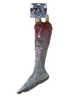 Zombie Untoter Abgehacktes Bein Halloween Party-Deko grau-rot 23x50x9cm