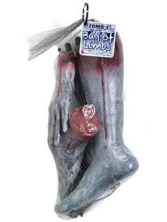 Abgehackte Leichenteile Halloween Partydeko-Set 4-teilig grau-rot 46x25x25cm