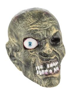 Verwester Zombieschädel Untoter abgetrennter Kopf Halloween Deko grau-braun-rot