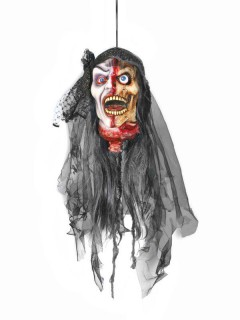 Abgetrennter Vampir-Kopf Halloween Hängedeko grau-rot-hautfarben 15x18x25cm
