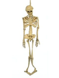 Skelett Deluxe Halloween-Hängedeko Figur beige 152cm