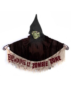 Beware Zombie Zone Halloween Party Türdeko braun-rot-weiss 120cm