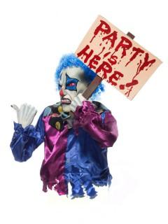 Horror-Clown mit Schild Halloween-Dekofigur bunt 35x35x53cm