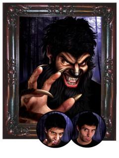 Gothic Barock Werwolf-Bilderrahmen Halloween-Deko gold-braun 45x55cm