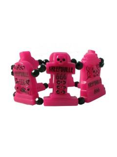 Kreepsville-Armband Grabsteine pink