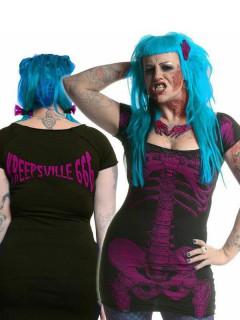 Kreepsville Gothic Mini-Kleid Skelett schwarz-magenta