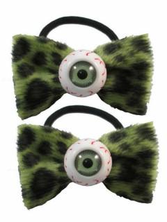 Kreepsville Gothic Haargummi-Set Augen Schleife leo-grün