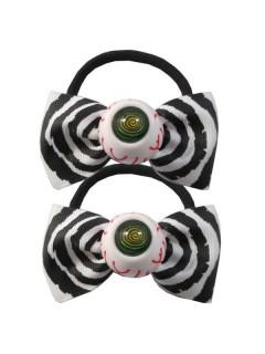 Kreepsville Haargummi-Set Augen Schleife schwarz-weiss