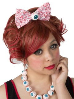 Kreepsville Gothic XL-Haarklammer Augen Schleife weiss-rot