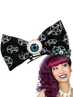 Kreepsville Gothic XL-Haarklammer Augen Schleife schwarz-weiss