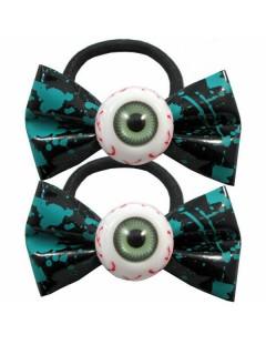 Kreepsville Gothic Haargummi-Set Augen Schleife schwarz-türkis