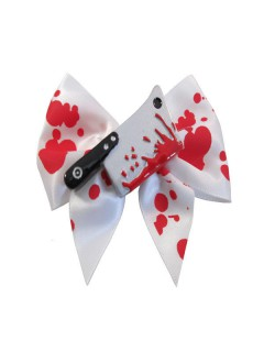 Kreepsville Gothic Haarklammer Hackbeil Schleife weiss-rot