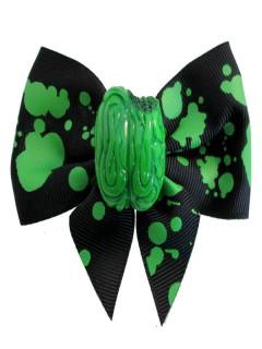Kreepsville Gothic Haarklammer Zombiehirn Schleife schwarz-grün