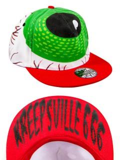 Kreepsville Gothic Baseball Cap Auge weiss-rot-grün