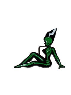 Kreepsville Gürtelschnalle Monsterbraut grün-schwarz 11cm