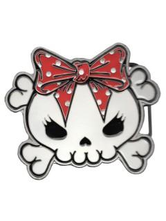 Kreepsville-Gürtelschnalle Skull mit Schleife Gothic weiss-rot