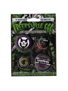 Kreepsville Gothic Werwolf Button Set 4-teilig schwarz-weiss