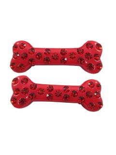 Kreepsville Gothic Haarklammer-Set Knochen Strasssteine rot