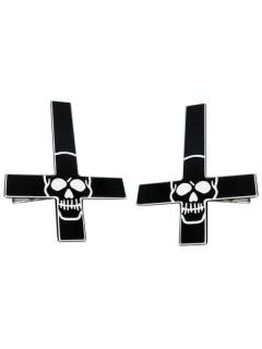 Kreepsville Gothic Haarklammer-Set Kreuz Skulls schwarz