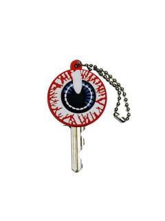 Kreepsville Gothic Schlüssel-Kappe Augapfel blau-weiss-rot