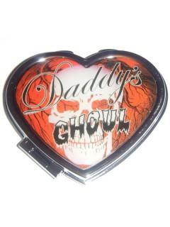 Kreepsville Gothic Mini-Spiegel Herz Daddys Ghoul rot-silber