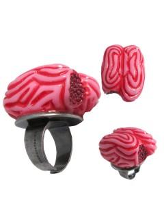 Kreepsville Gothic-Ring Zombie-Hirn pink-silber 3,5cm