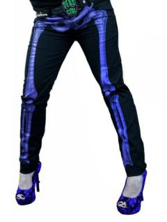 Kreepsville Skelett-Hose Gothic-Jeans schwarz-lila