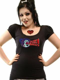 Kreepsville Gothic Girlie Shirt Puffärmel Wax Your Werewolf schwarz
