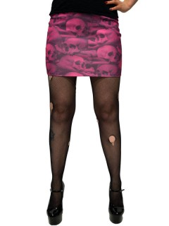 Kreepsville Gothic Mini-Rock Skulls schwarz-pink