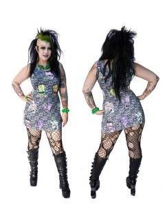 Kreepsville Gothic Kleid Mini Toxic Toons Ugly Heads schwarz-weiss