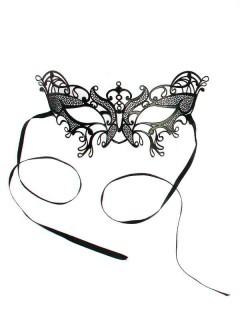 Venezianische Augenmaske Schmetterling metall-schwarz