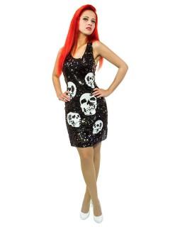 Totenkopf-Kleid Damenkostüm mit Pailletten schwarz-weiss
