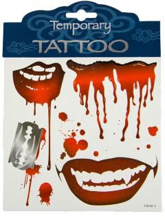 Blutige Halloween-Tattoos blutige Lippen Rasierklinge 4er-Set rot-grau