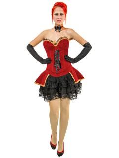 Corsage-Kostüm mit Rock String und Halsband rot-schwarz
