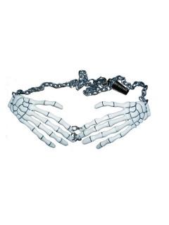 Gothic-Halskette Kreepsville Skeletthände weiss