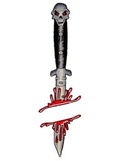 Gothic-Aufnäher Kreepsville blutiges Messer schwarz-weiss-rot
