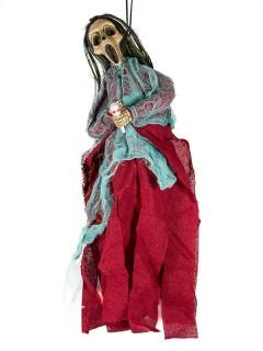 Tod Skelett Halloween-Dekoration Hängedeko rot-türkis 40cm