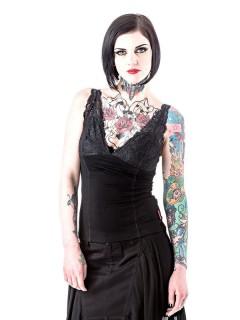 Gothic Top Shirt mit Spitzenträgern schwarz