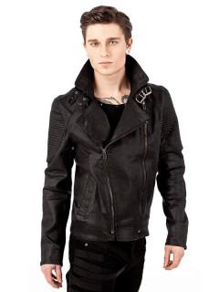 Gothic Jacke mit großem Kragen Leder-Optik schwarz