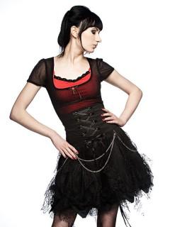 Gothic Mini-Rock mit Spitze schwarz