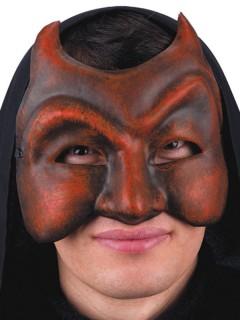 Düstere Teufels-Halbmaske rot-grau