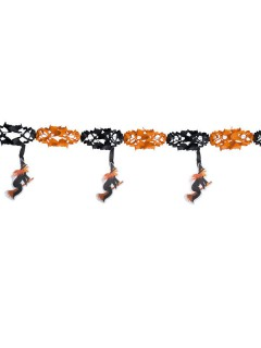 Hexen-Girlande Halloween Party-Deko orange-schwarz 300x40cm