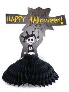 Aufsteller Happy Halloween Tischdeko schwarz-grau-weiss 23cm