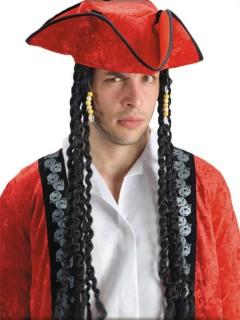 Piraten-Dreispitz mit langen Haaren schwarz-rot