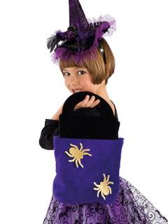 Trick or Treat-Plüschtasche mit Spinnen Halloween schwarz-lila-gelb