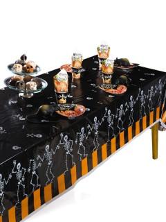 Halloween Tischdecke Skelette und Knochen schwarz-weiss-orange 274x137cm