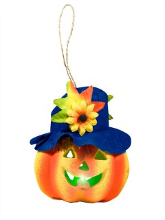 Lachender Kürbis Halloween Fenster-Deko orange-blau 13,5cm