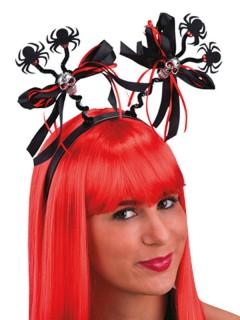 Totenkopf-Harreifen mit Spinnen Halloween-Accessoire rot-schwarz