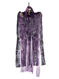 Gruselfigur Halloween-Hängedeko Skelett Tod lila-grau 60cm