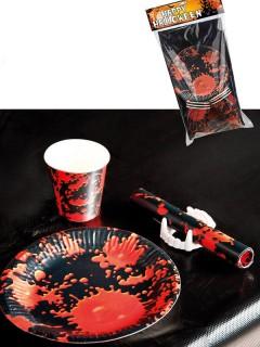 Blutspritzer Horror Halloween Tischdeko-Set für 6 Personen 25-teilig schwarz-rot